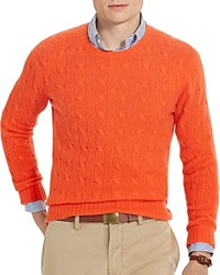 Polo Ralph Lauren Cashmere Cable Knit Sweater Signal Orange Heather