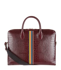 Paul Smith Croc Embossed Striped Briefcase Burgundy