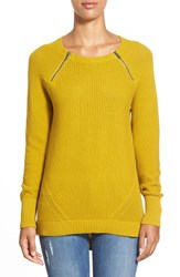 Women's Caslon Zip Detail Elliptical Hem Sweater Olive Oil