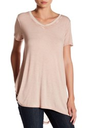 Cable And Gauge Enzyme Wash Mesh Back Tee Pink