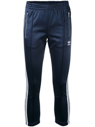 Adidas Slim Fit Cigarette Trousers Women Polyester Spandex Elastane 44 Blue