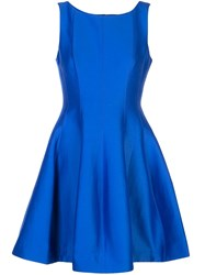 Halston Heritage Fit And Flare Dress Blue