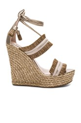 Pura Lopez Ankle Tie Wedge Taupe