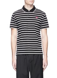Mcq By Alexander Mcqueen Swallow Skull Patch Stripe Cotton Polo Shirt Multi Colour