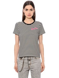 Marc Jacobs Stripes And Leopard Cotton Jersey T Shirt