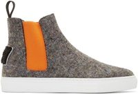 Msgm Grey And Orange Wool High Top Sneakers