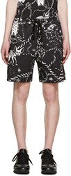 Markus Lupfer Black Twill Cartoon Animals Shorts