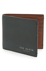 Men's Ted Baker London 'Camusa' Leather Bifold Wallet Green