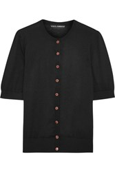 Dolce And Gabbana Embellished Silk Cashmere Blend Cardigan Black