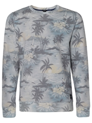 O'neill Oasis Pattern Crew Neck Pull Over Jumper Blue