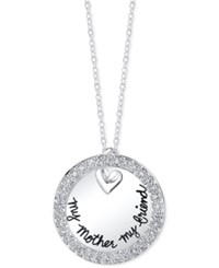 Unwritten Cubic Zirconia Mother Circle Pendant Necklace In Sterling Silver