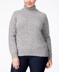 Karen Scott Plus Size Marled Turtleneck Sweater Only At Macy's Winter White Marble