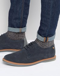 Frank Wright Woking Derby Shoes In Navy Suede Navy Blue