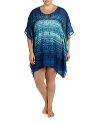 Karen Kane Plus Catalina Caftan Blue