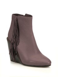 See By Chlo Epona Fringe Leather Wedge Booties Black Brown