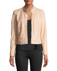 Rebecca Taylor Perforated Zip Front Leather Jacket Pink