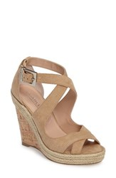 Charles By Charles David Women's Belfast Strappy Wedge Sandal Nude Micro Suede