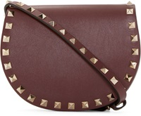 Valentino Rubine Leather Half Moon Rockstud Saddle Bag