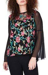 Elvi Plus Size Women's Embroidered Mesh Top Black