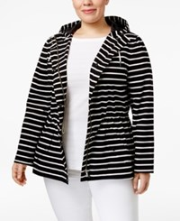 Charter Club Plus Size Striped Anorak Only At Macy's Deep Black Combo