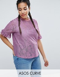 Asos Curve T Shirt In Lace With Ruffle Sleeve And Stripe Tipping Lilac Purple