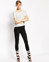 American Retro Black Marly Trousers With White Mesh Ankle Inserts Black