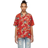 R 13 R13 Red Fish And Leopard Hawaiian Shirt