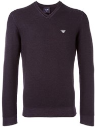 Armani Jeans V Neck Jumper Blue