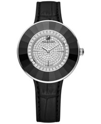 Swarovski Octea Black Tone Stainless Steel Croc Leather Strap Watch 36Mm No Color