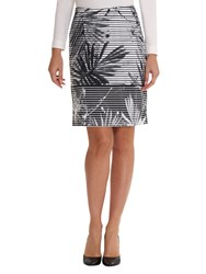 Betty Barclay Fern Leaf Print Skirt White Black