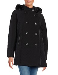 Jane Post Faux Fur Trimmed Quilted Coat Black