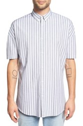 Zanerobe Striped Rugger Short Sleeve Oversized Fit Shirt Black