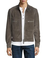 Tom Ford Calfskin Suede Bomber Jacket Gray