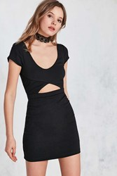 Silence And Noise Cutout Short Sleeve Bodycon Mini Dress Black