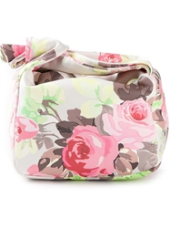 Carven Floral Print Clutch Pink And Purple