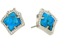Kendra Scott Kirstie Stud Earrings Gold Bronze Veined Turquoise Magnesite Earring Blue