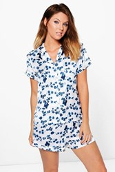Boohoo Satin China Floral Shirt And Short Night Set Blue