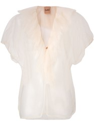 Nude Ruched Tulle Top Nude And Neutrals