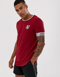 Sik Silk Siksilk Muscle T Shirt With Arm Logo In Burgundy Red