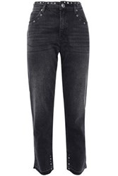 Sandro Woman Embellished High Rise Slim Leg Jeans Black