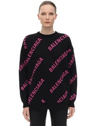 Balenciaga Oversize Logo Cotton Jacquard Sweater Black Pink