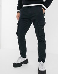 Calvin Klein Jeans Skinny Washed Cargo Trousers In Black