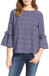 Gibson Women's Ruffle Sleeve Top Navy Off White Wave