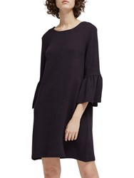 French Connection Paros Sudan Marl Flared Sleeve Dress Utility Blue