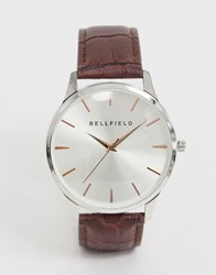 Bellfield Gold Tone Index Watch With Brown Strap