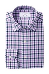 Lorenzo Uomo Double Gingham Trim Fit Dress Shirt Purple