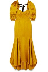 Brock Collection Bow Detailed Ruffled Twill Maxi Dress Yellow
