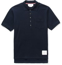 Thom Browne Ribbed Cotton Seersucker Polo Shirt Navy