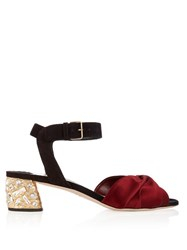 Miu Miu Satin Knot Suede Sandals Black Burgundy