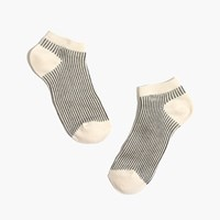Madewell Vertical Stripe Anklet Socks Black Grey Cream
